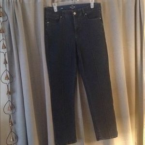 High rise center tuck slim ankle jeans